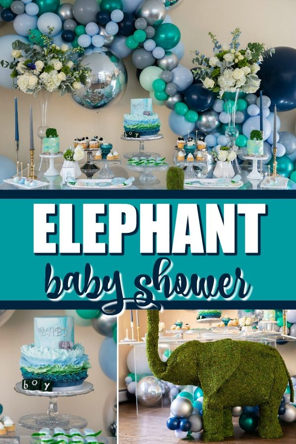 Elephant Themed Baby Shower Pretty My Party Party Ideas Elephant Baby Shower Decorations Elephant Baby Shower Theme Baby Shower Themes