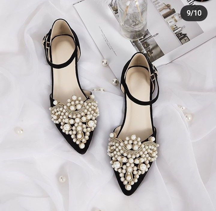 Pin By My Wariatki On Shoes Ankle Strap Flats Shoes Faux Pearl