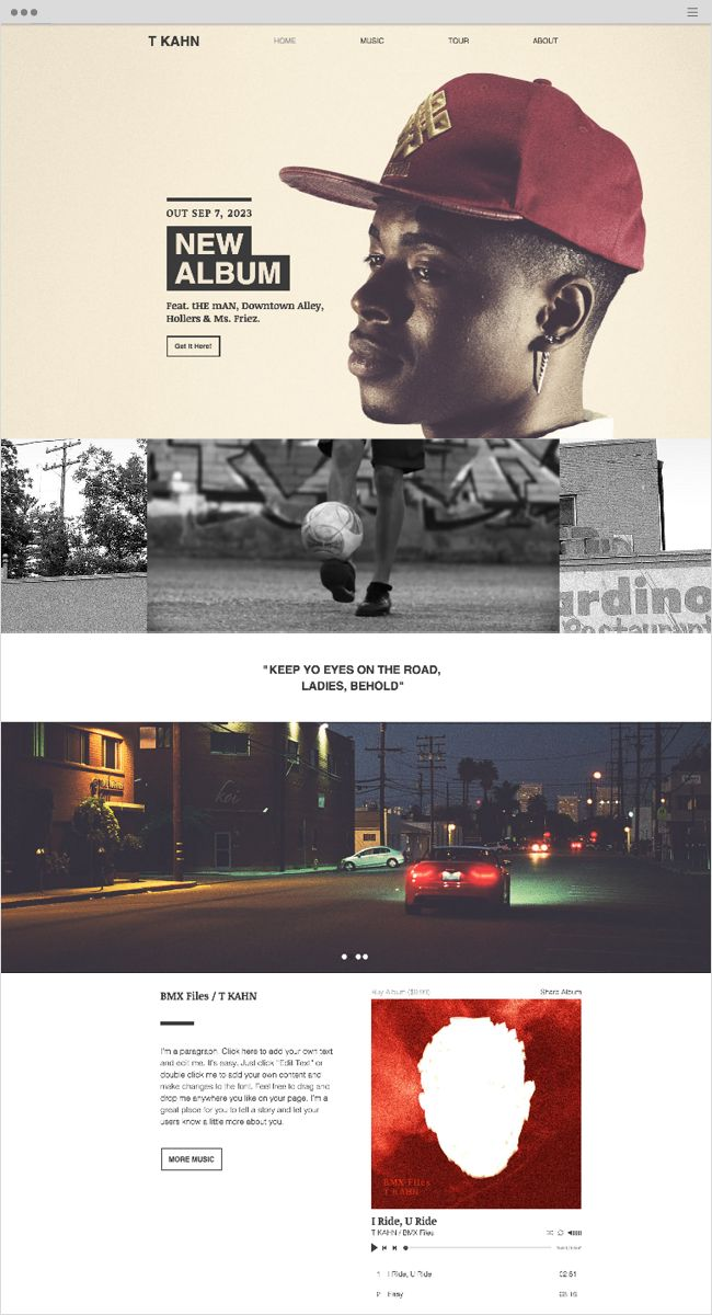 Hip Hop Artist Website Template | Wix Website Templates ...