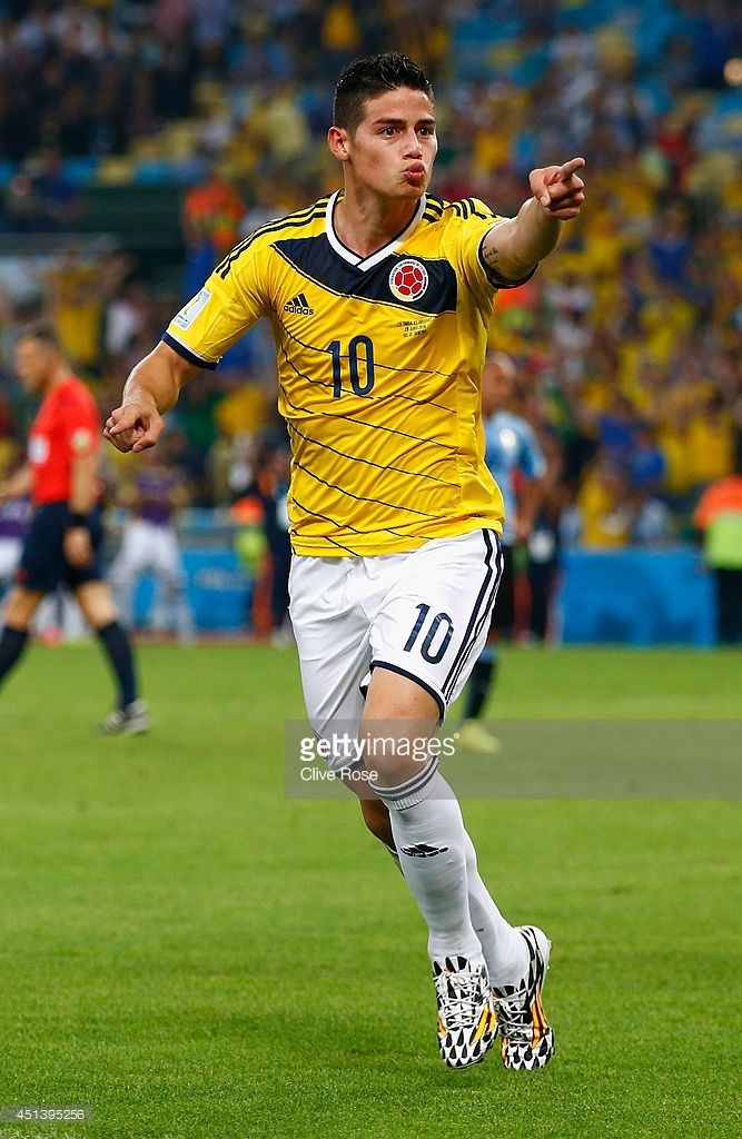 James Rodriguez of Colombia celebrates scoring his team's second goal and his second of the game during the 2014 FIFA World Cup Brazil round of 16 match between Colombia and Uruguay at Maracana on June 28, 2014 in Rio de Janeiro, Brazil.