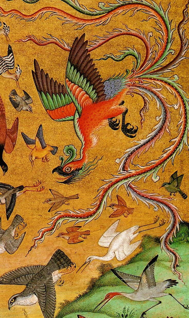 The simurgh is depicted in Iranian art as a winged creature in the shape of a bird, gigantic enough to carry off an elephant or a whale. It appears as a kind of peacock with the head of a dog and the claws of a lion; sometimes however also with a human face. The simurgh is inherently benevolent and unambiguously female. This giant birdlike creature is so old that it has seen the world destroyed three times over, and thus possesses the knowledge of all the ages.