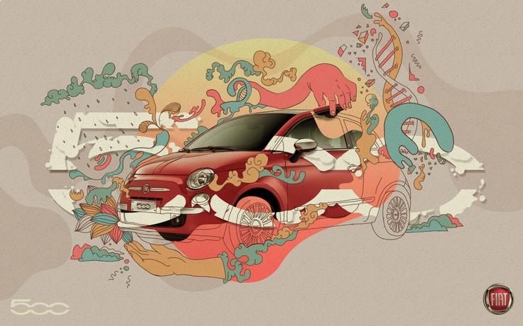 fiat 500.: Inspiration, Elvis Beníciotm, Illustration, Fiat 500, Fiat500