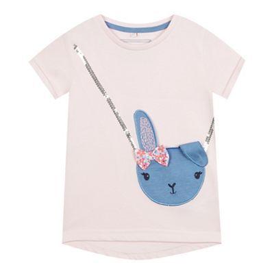 bluezoo Girls' pink bunny handbag applique t-shirt | Debenhams