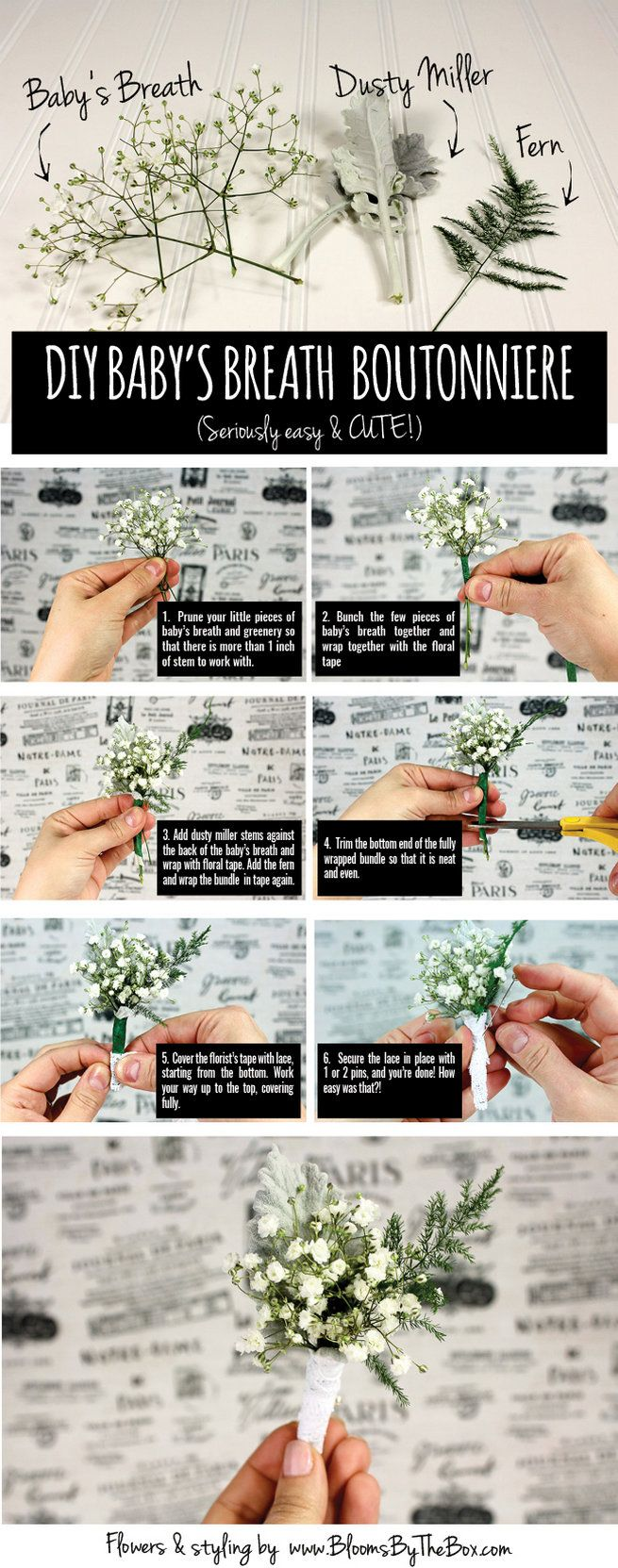 Oh baby's breath, how we love you so. This easy tutorial for making a DIY Baby's Breath Boutonniere is quick and CUTE! These pretty little guys are so simple to make and they add a fun twist on the traditional boutonniere. We love that you can easily order the flowers needed for this tutorial online and have them delivered straight to your door to create for your wedding day. YAY! get the full step by step here: http://www.confettidaydreams.com/easy-diy-babys-breath-boutonniere/