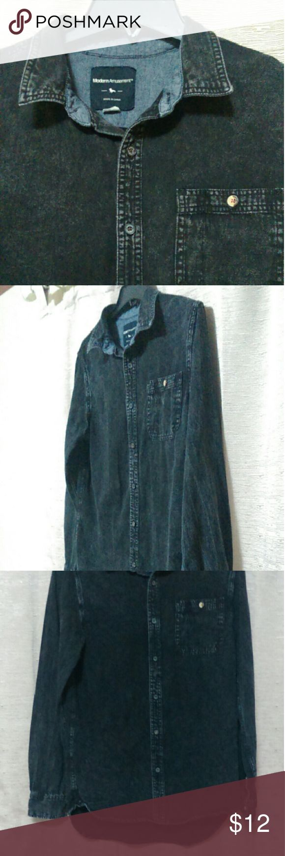 Men's black denim button down Modern Amusement from PacSun. Faded in all the right places. Excellent condition. Modern Amusement Shirts Casual Button Down Shirts