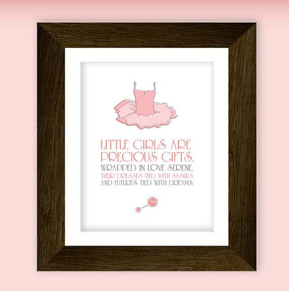 Precious little girl nursery art printable. Featuring ballet tutu illustration and little girl quote. Download NOW.