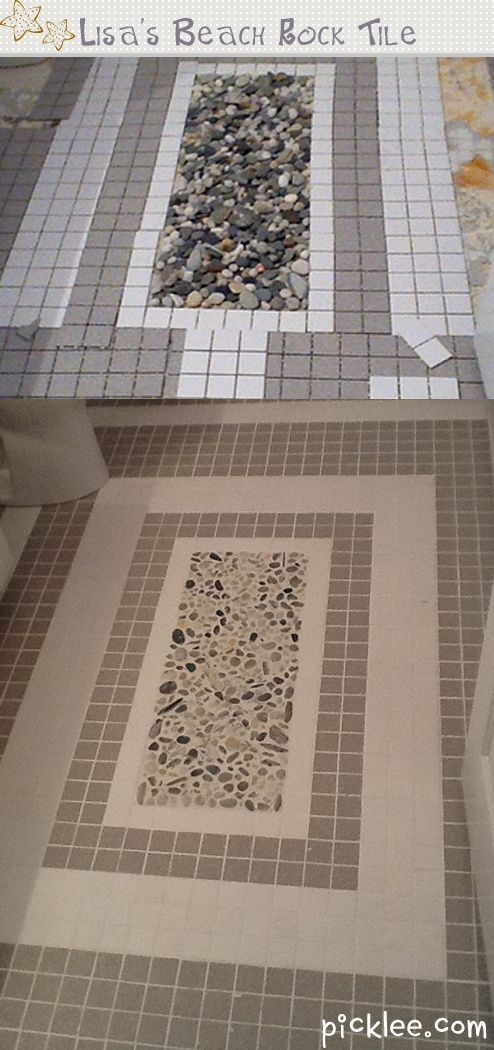 Simple DIY- Tile Using Found Beach Rocks, only cost is grout ($7)!