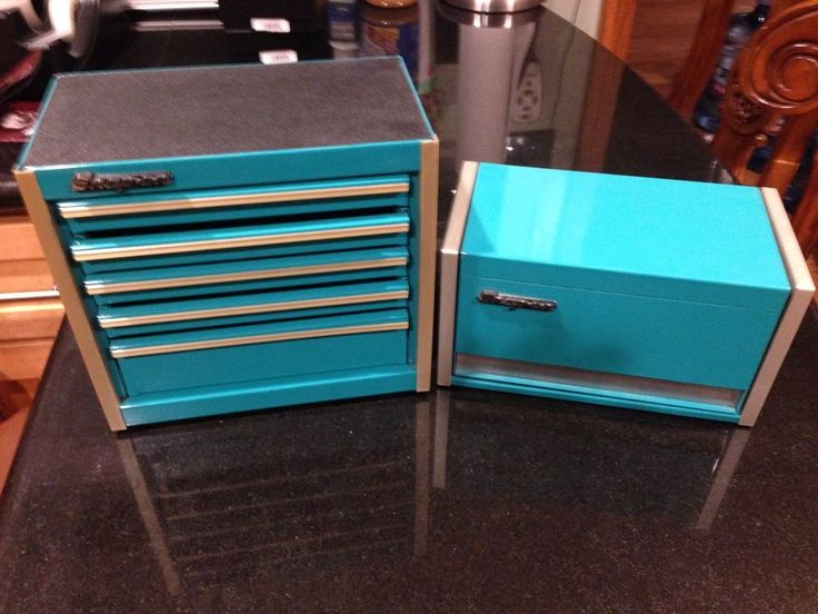 Snap-On Teal Mini Micro Tool Box Set Top Chest and Bottom Box #SnapOn   I want this so bad!!!