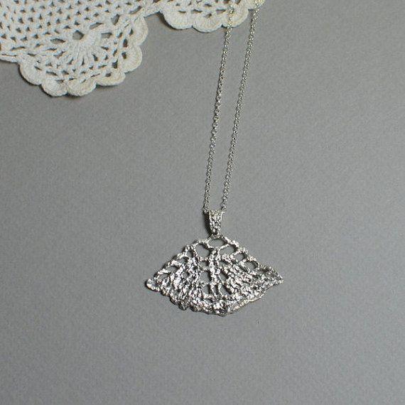 lace necklace filigree pendant silver tatting necklace by MyElesi