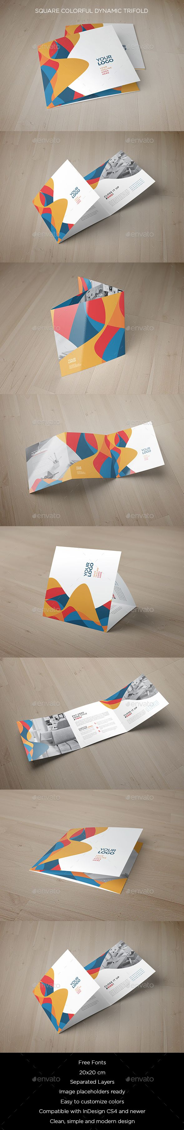 Square Colorful Dynamic Trifold Brochure Template InDesign INDD #design Download: http://graphicriver.net/item/square-colorful-dynamic-trifold/13628157?ref=ksioks