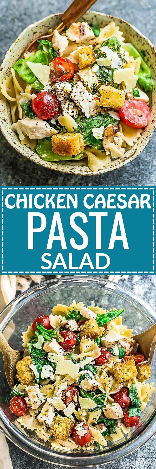 This Chicken Caesar Pasta Salad Meal Prep bowl is the perfect side dish for Memorial Day, Fourth of July and all your weekend barbecues, cookouts, grillouts, potlucks and picnics. Best of all, so easy to make and leftovers are delicious for school or work lunchboxes or lunch bowls.