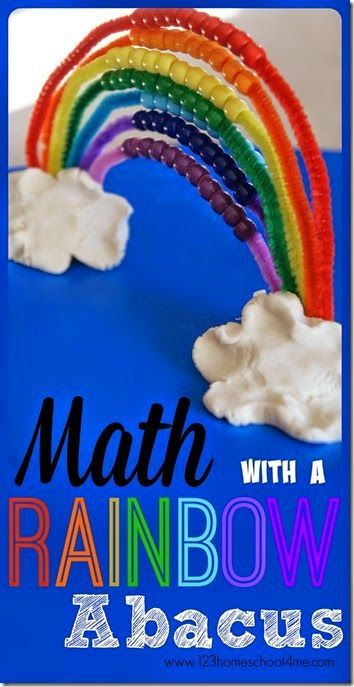Math Activity using a DIY Rainbow Abacus - what a fun spring activity for toddler, preschool, prek, kindergarten, or as a skip counting activity for 1st grade 2nd grade (homeschool, math game, math activity, kids activities)