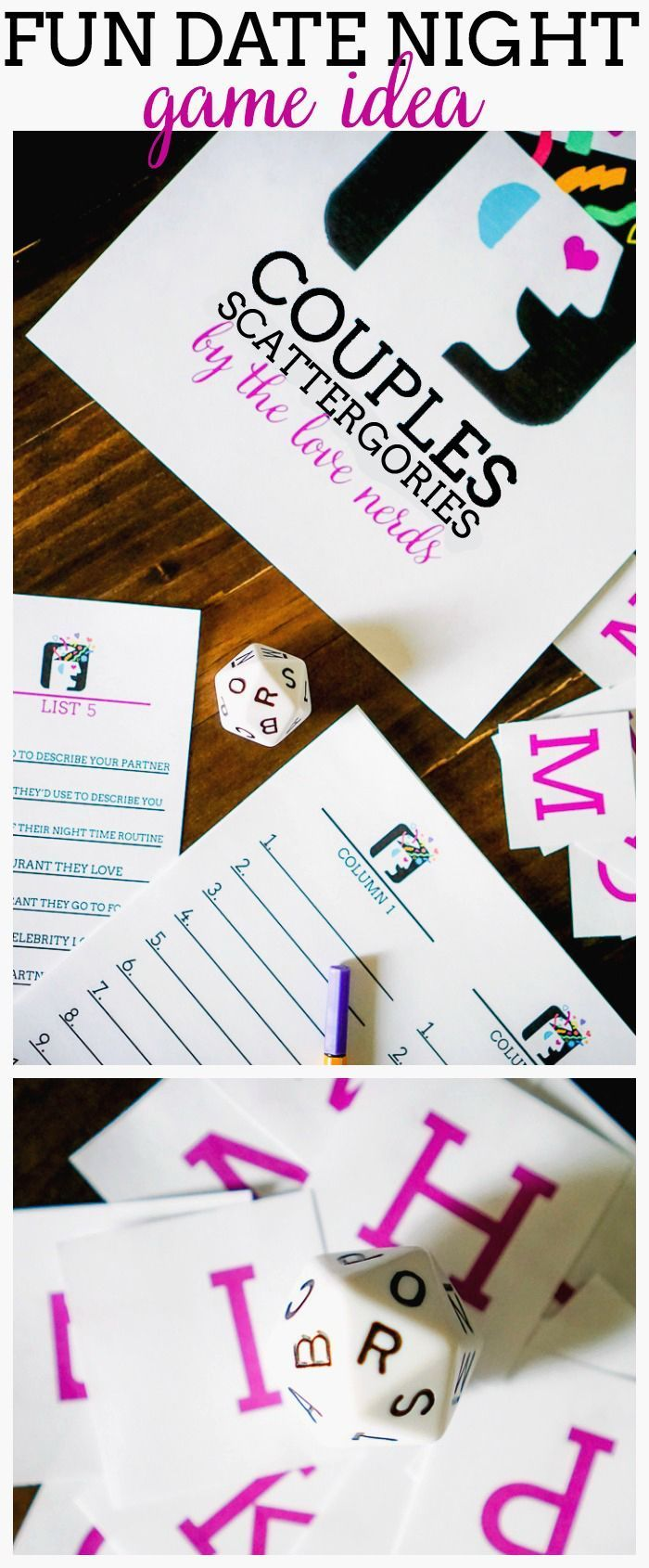 Couples Scattergories - A fun and free Date Night Game Idea! It's perfect as at home date idea or Valentine's Day game! | The Love Nerds