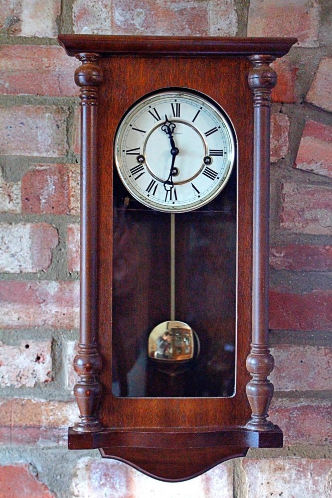 Vintage German Rapport 8 Day Wall Clock With Westminster Chimes