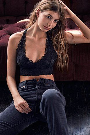 Out From Under All Over Scallop Black Lace Racerback Bralette