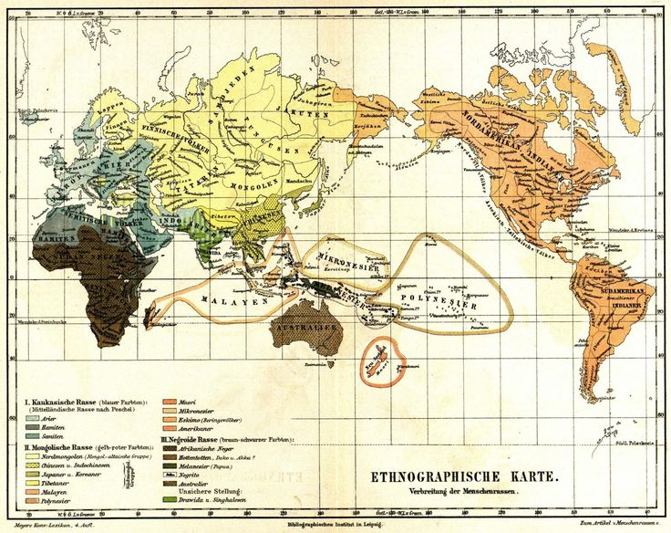 German world map of ethnicities, 1885