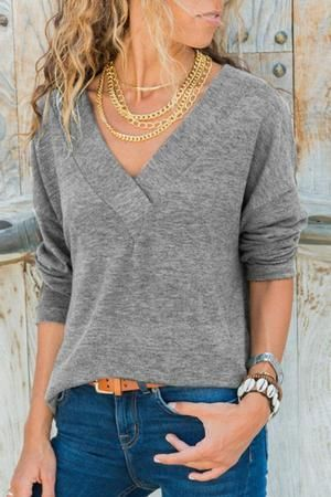 435eade8128b Women Fall V Neck Plain T-Shirts | Clothes | V neck, Shirts, Casual ...