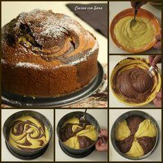 Torta bicolore soffice, con tutorial fotografico, cucina con sara