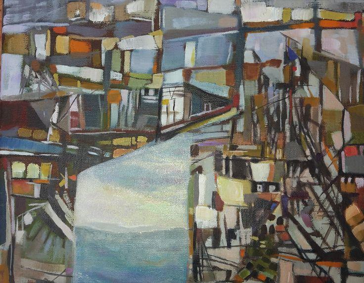 Abstract Olieverf op doek 30 x 25 cm