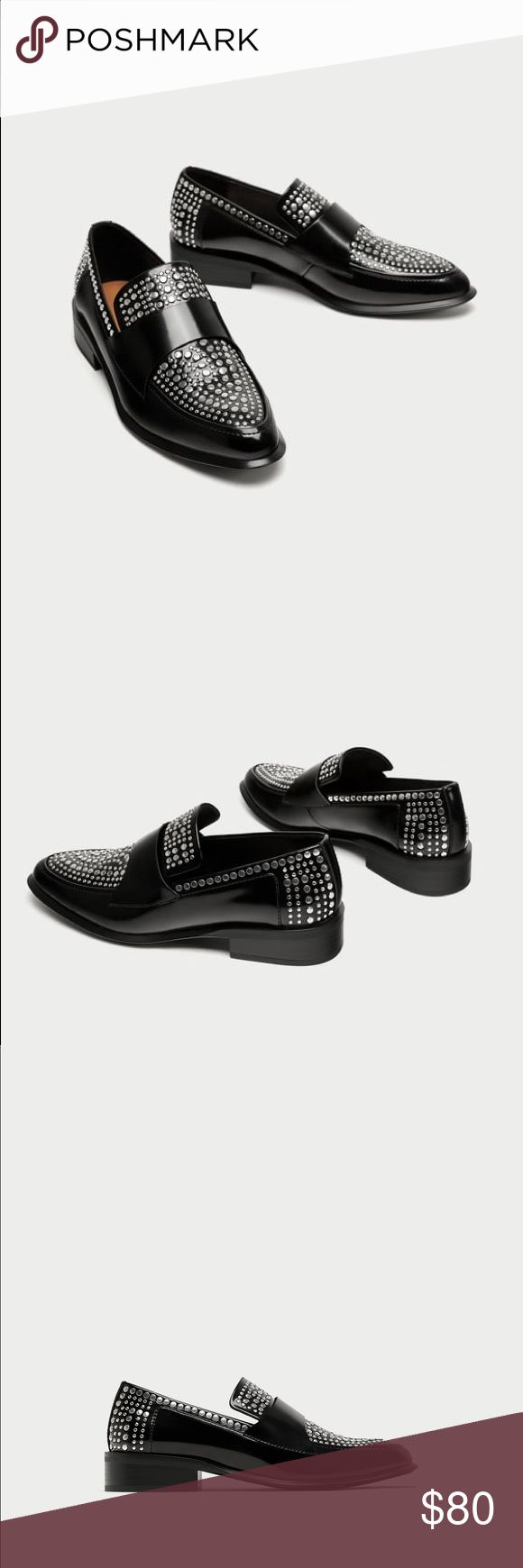 Zara studded loafers black NWT. Super edgy Zara Shoes Flats & Loafers
