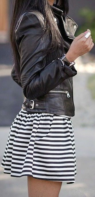 Leather jacket black and white striped skirt