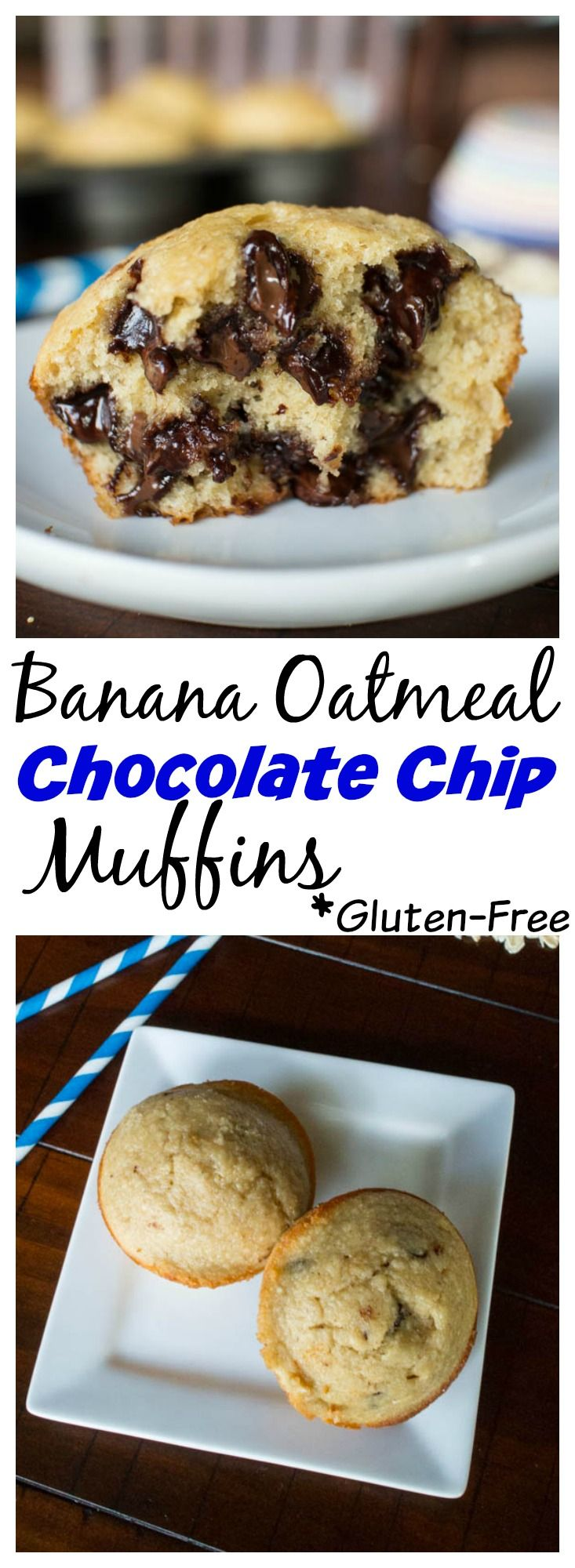 Quick and easy gluten free banana muffins you can make in the blender. No oil either! Banana Oatmeal Chocolate Chip Muffin Recipe