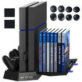 Kootek PS4 Vertical Stand Cooling Fan Controller Charging Station with Game Storage & Dualshock Charger
