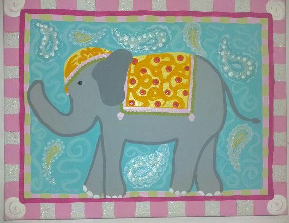 Bollywood elephant paisley nursery paintings by AllTheSaltInTheSea, $80.00