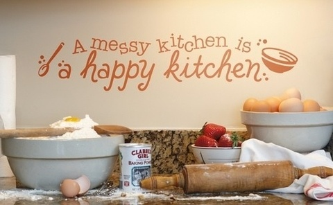 a happy kitchenWall Art, Memories Wall, Food Quotes, Wall Decor, Happy Kitchens, Mothers Day, Kitchens Wall, Wall Decal, First Places