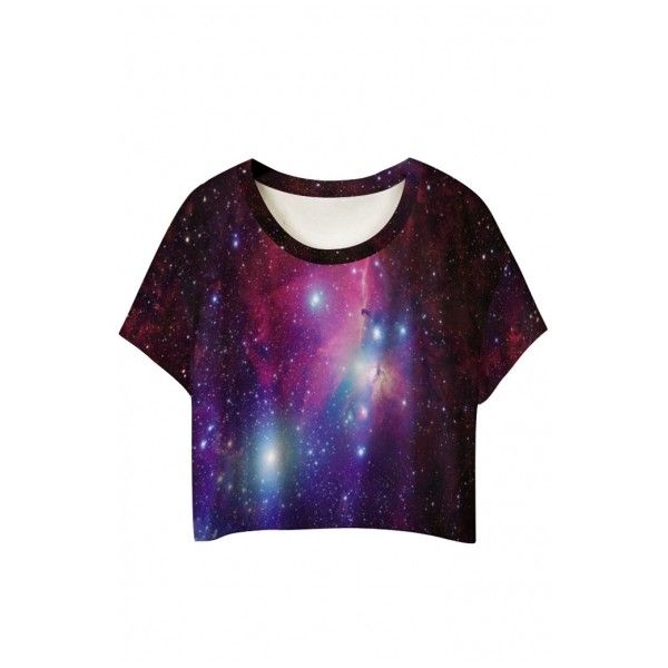 Round Neck Galaxy Print Short Sleeve Cropped Tee ($18) ❤ liked on Polyvore featuring tops, t-shirts, shirts, crop top, purple shirt, cropped graphic tee, short sleeve tee, galaxy shirt and tee-shirt