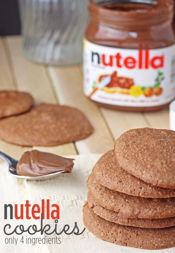 Easy Nutella Cookies Recipe - Only 4 Ingredients via @Nathan Mallonee Mallonee Mallonee Mallonee Engels