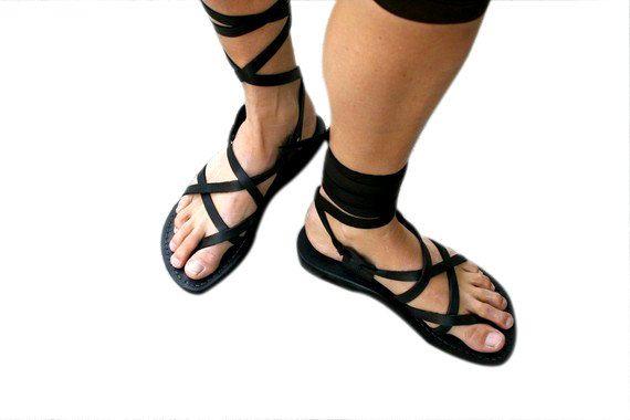 Black Gladiator Leather Sandals Triple Design by SANDALI on Etsy