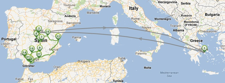 Travel mapping and planning a trip to visit southern Spain.