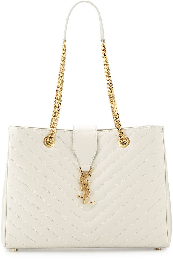 Saint Laurent Monogramme Matelasse Shopper Bag, White, White YSL ...