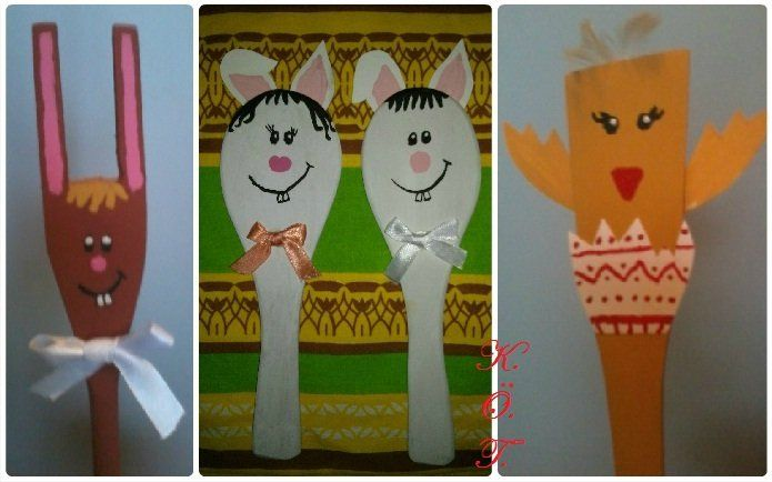 húsvéti fakanál bábok / Easter wooden spoon puppet