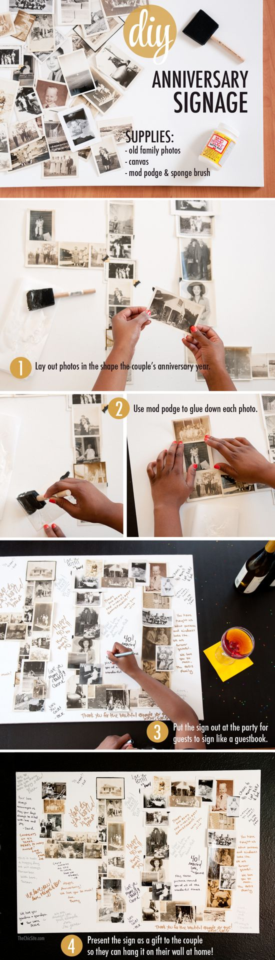 Anniversary Signage ~ This is a great gift idea for an anniversary party! Make a collage out of family pictures and have all of the guests sign.
