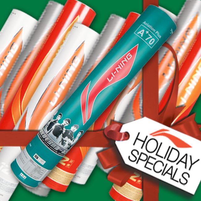 HOLIDAY SPECIALS! Treat someone you LOVE with the Li-Ning Badminton products they've always wanted this year! We're FULLY STOCKED with one of the largest selections of badminton shuttlecocks and equipment anywhere! See your local dealer or visit www.shopbadmintononline.com/shuttles-for-badminton-c-2.html and #MakeTheChange!