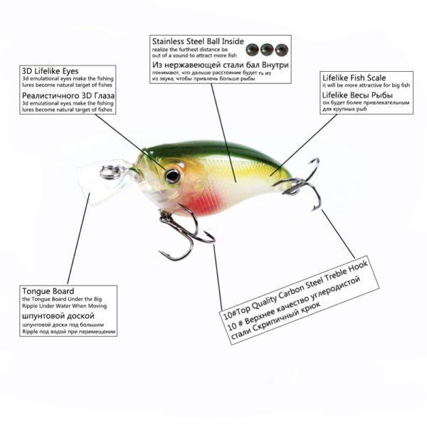 $15.99 Free Shipping! 8pcs/Set Hard Metal Fishing Wobbler 3d Eyes Crank Minnow – The Fishing Supplies Store
