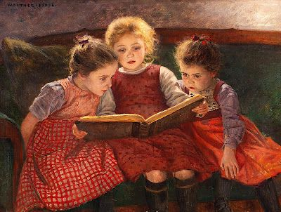 """""""Three little girls reading book."""" Love to be able to supply artist's name if you know it. S"""
