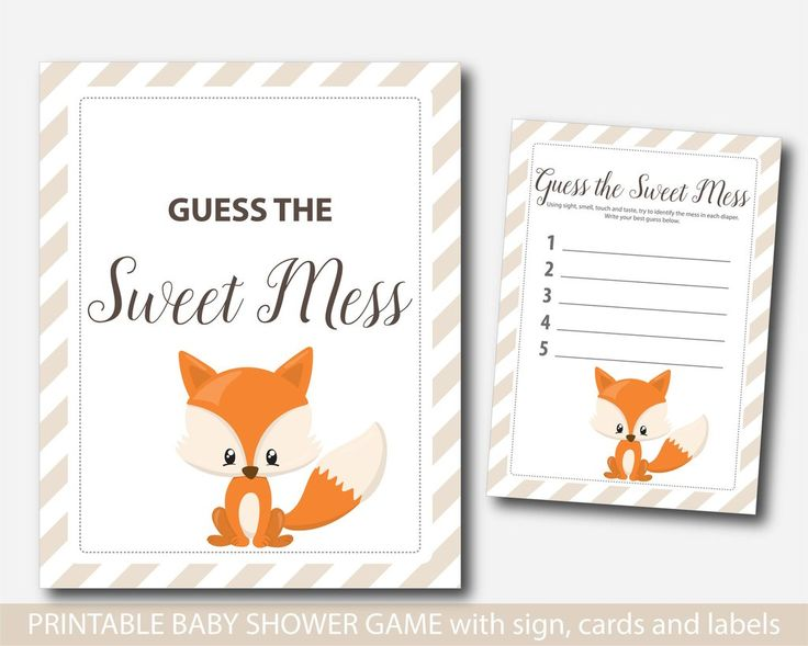 Baby Shower Games With Diapers Part - 29: Fox Guess The Sweet Mess, Woodland Dirty Diapers Baby Shower Game, Fox Baby  Shower