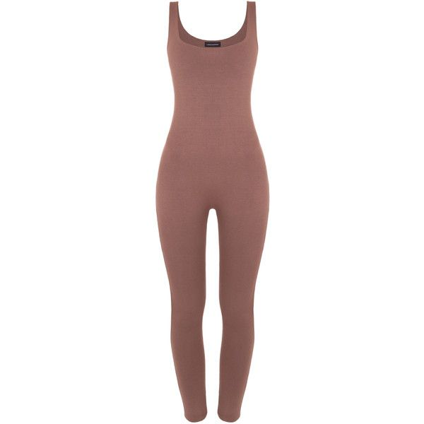 Naked Wardrobe NW Catsuit ($45) ❤ liked on Polyvore featuring jumpsuits, bodysuit, one piece, brown jumpsuit and jump suit