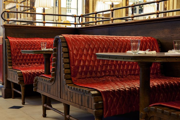 Holborn Dining Room banquette, something here about the quilted blanket.
