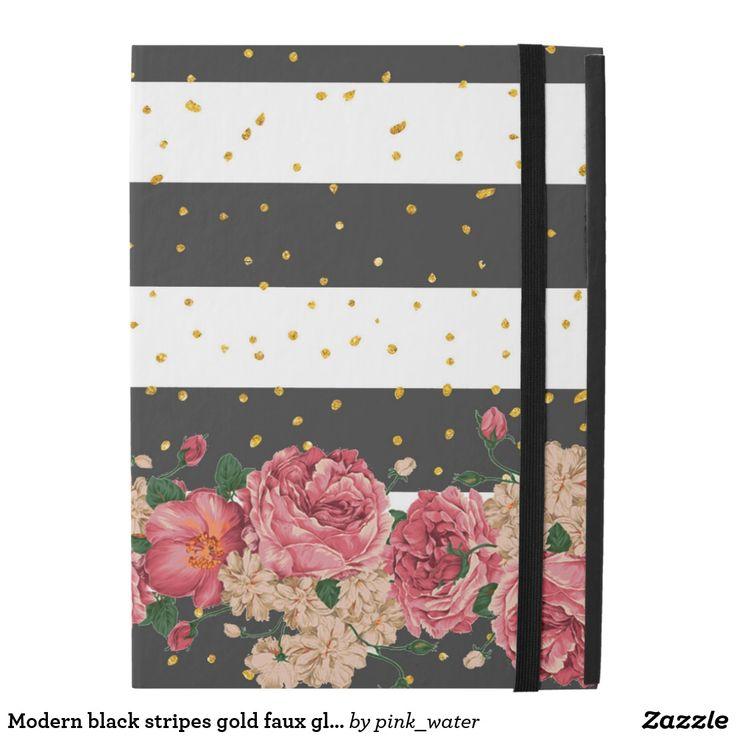 "Modern black stripes gold faux glitter floral iPad pro 12.9"" case"
