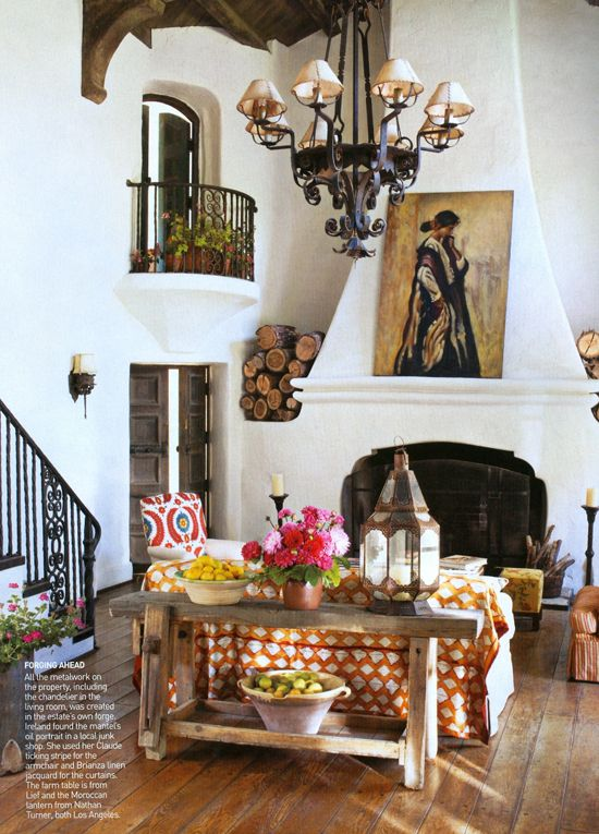 reese witherspoons spanish style ranch home ojai california - Spanish Home Interior Design