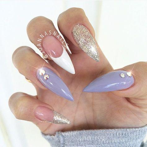 Purple and gold stiletto nails
