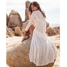 Белый макси dress длинным рукавом пляж платья женщины 2017 sexy лето крышка кардиган сетки полый кружева boho v шеи сарафан(China (Mainland))