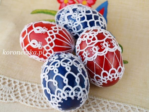 Frywolitki, tatting, Easter Egg