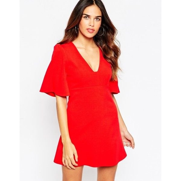 ASOS Skater Dress with Square Neck and Angel Sleeves ($30) ❤ liked on Polyvore featuring dresses, red, asos, red skater dress, square neckline dress, asos dresses y red dress