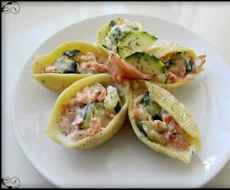 Recette Conchiglioni courgettes et saumon fumé (pates en forme de coquillage) par linettebreizh - recette de la catégorie Plat principal - divers