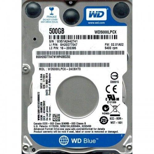 Hard disk notebook WD Blue WD5000LPCX, 500GB, SATA-III, 5400 RPM, cache 16MB, 7 mm